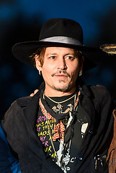 Johnny Depp pictured at a screening of The Libertine, at the Cineramageddon drive-in cinema, during the Glastonbury Festival at Worthy Farm in Pilton, Somerset. Picture date: Friday June 23rd, 2017. Photo credit should read: Matt Crossick/ EMPICS Entertainment.