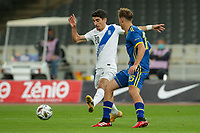 ATHENS, GREECE - OCTOBER 14: Petros Mantalosof Greece and Mergim Vojvodaof Kosovo during the UEFA Nations League group stage match between Greece and Kosovo at OACA Spyros Louis on October 14, 2020 in Athens, Greece. (Photo by MB Media)