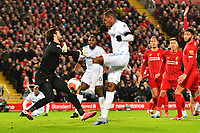 Liverpool's Alisson Becker blocks the attempt on goal of West Ham United's Issa Diop<br /> <br /> Photographer Richard Martin-Roberts/CameraSport<br /> <br /> The Premier League - Liverpool v West Ham United - Monday 24th February 2020 - Anfield - Liverpool<br /> <br /> World Copyright © 2020 CameraSport. All rights reserved. 43 Linden Ave. Countesthorpe. Leicester. England. LE8 5PG - Tel: +44 (0) 116 277 4147 - admin@camerasport.com - www.camerasport.com