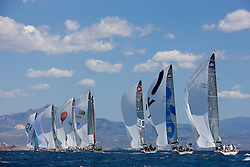 © Sander van der Borch. Alicante - Spain, May 13th 2009. AUDI MEDCUP in Marseille (12/17 May 2009). Race 2,3 and 4. Fleet sailing downwind after rounding the top mark.