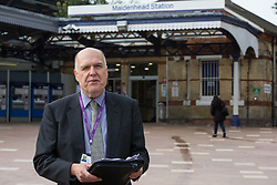 Cllr Gerry Clark, the Royal Borough of Windsor and Maidenhead's cabinet member for transport and infrastructure, speaks at the opening of a new station forecourt on 11th October 2021 in Maidenhead, United Kingdom. The £3.75m refurbishment is intended to make the area around the station more commuter-friendly in anticipation of an increase in passengers when Crossrail opens and to improve both the interchange between trains and other forms of transport and walking and cycling links between the station and the town centre.