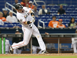 May 31, 2017 - Miami, FL, USA - The Miami Marlins' A.J. Ellis hits a single in the fourth inning against the Philadelphia Phillies on Wednesday, May 31, 2017 at Marlins Park in Little Havana in Miami. The Marlins won, 10-2. (Credit Image: © Pedro Portal/TNS via ZUMA Wire)