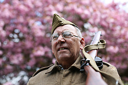 © Licensed to London News Pictures. 13/05/2016. Haworth, UK. Alan Longthorn poses for a picture dressed in a home guard uniform during the annual 1940's weekend in Haworth, West Yorkshire.  Photo credit : Ian Hinchliffe/LNP