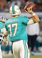August 23rd, 2014, Miami Dolphins quarterback Ryan Tannehill (17) during a game between the Miami Dolphins and the Dallas Cowboys at Sun Life Stadium in Miami Garden, FL NFL American Football Herren USA AUG 23 Preseason - Cowboys at Dolphins PUBLICATIONxINxGERxSUIxAUTxHUNxRUSxSWExNORxONLY Icon140823035<br />