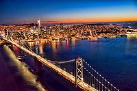 Bay Bridge & San Francisco Skyline, Sunset