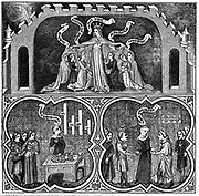 Aristotle (384-322 BC) Ancient Greek philosopher and scientist. Allegorical illustration of Dame Justice ruling all aspects from legal justice down to personal justice and obedience. Engraving after 14th century manuscript of Book V of Aristotle's 'Ethics