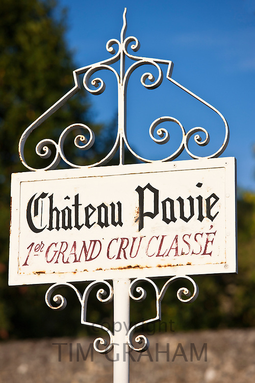 Chateau Pavie 1er Grand Cru Classe sign at St Emilion in the Bordeaux wine region of France
