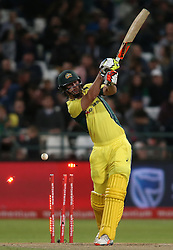 Mitchell Marsh of Australia is bowled by Kagiso Rabada of South Africa during the 5th ODI match between South Africa and Australia held at Newlands Stadium in Cape Town, South Africa on the 12th October  2016<br /> <br /> Photo by: Shaun Roy/ RealTime Images