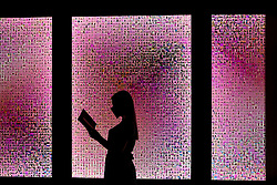 "© Licensed to London News Pictures. 13/08/2020. York, UK.  A visitor looking at ""Selfies"" a work by Stephanie Potter Corwin consisting of 10,000 selfies part of The Aesthetica Art Prize at York Art Gallery 13 August 2020.  18 contemporary artist with work that respond to key issues in todays digital world have pieces on display for The annual Aesthetica Art Prize at the Gallery until February 2021.  Photo credit: Nigel Roddis/LNP"
