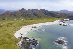 Aerial view of Sanna beach on Ardnamurchan Peninsula , Highland Region, Scotland, UK