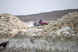 PISCO, Jan. 8, 2018  Mikko Hirvonen of Finland and co-driver Andreas Schulz of Germany compete during the 2018 Dakar Rally Race Stage 2 in Pisco, Peru, on Jan. 7, 2018. (Credit Image: © Li Ming/Xinhua via ZUMA Wire)