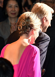 October 14, 2016 - Osaka, JAPAN - Queen Mathilde of Belgium pictured as she arrives for a concert 'Japan and Belgium, one in music' in the Knowledge Theater Osaka, on day five of a state visit to Japan of the Belgian Royals, Friday 14 October 2016, in Osaka, Japan. BELGA PHOTO ERIC LALMAND (Credit Image: © Eric Lalmand/Belga via ZUMA Press)