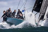 Rebellion at The Needles during the Round the Island Race. Isle of Wight.<br /> Picture date: Saturday July 2, 2016.<br /> Photograph by Christopher Ison ©<br /> 07544044177<br /> chris@christopherison.com<br /> www.christopherison.com