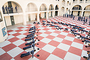 Echo Company knobs do 40 pushups with their cadre after being promoted promoted from cadet recruit to cadet private on Saturday, January 23, 2021.<br /> <br /> Credit: Cameron Pollack / The Citadel