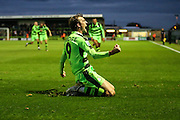 Forest Green Rovers Christian Doidge(9) celebrates his last minute winner, 2-1 during the Vanarama National League match between Forest Green Rovers and Aldershot Town at the New Lawn, Forest Green, United Kingdom on 5 November 2016. Photo by Shane Healey.