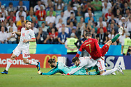 Cristiano Ronaldo of Portugal, David De Gea and Gerard Pique of Spain during the 2018 FIFA World Cup Russia, Group B football match between Portugal and Spain on June 15, 2018 at Fisht Stadium in Sotschi, Russia - Photo Tarso Sarraf / FramePhoto / ProSportsImages / DPPI