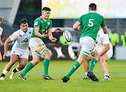 Ireland No.8 Max Deegan feeds the ball to second-row James Ryan during the World Rugby U20 Championship Final   match England U20 -V- Ireland U20 at The AJ Bell Stadium, Salford, Greater Manchester, England onSaturday, June 25, 2016. (Steve Flynn/Image of Sport)