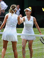 Tennis - 2019 Wimbledon Championships - Week One, Friday (Day five)<br /> <br /> Womens singles, 3th Round Simone Halep (ROU) v Victoria Azarenka (BLR)<br /> <br /> Simone Halep at the net after the match on Centre Court <br /> <br /> COLORSPORT/ANDREW COWIE
