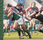 Leicester, Walker Stadium., Leicestershire, 5th April 2004, Heineken Cup, ENGLAND. [Mandatory Credit: Photo  Peter Spurrier/Intersport Images],Heineken Cup, Semi Final, Leicester Tigers vs Stade Toulouse, Walker Stadium, Leicester, ENGLAND: Tigers HenryTuilagi, is tacklesd by Toulouses Gregory Lamboley.