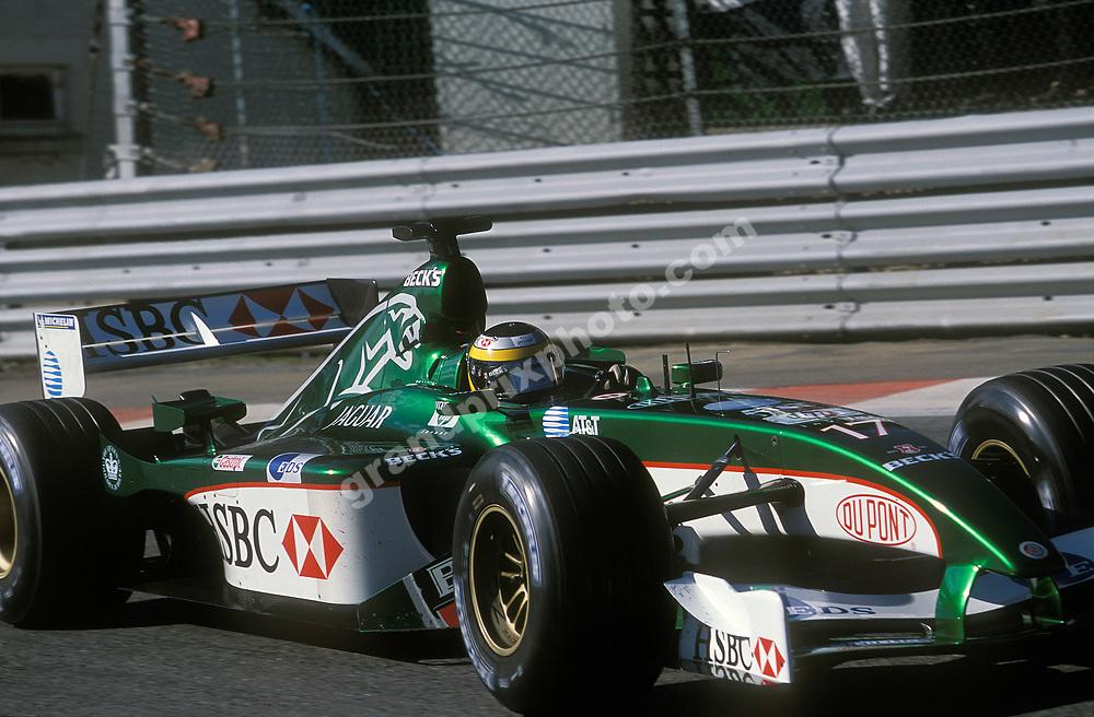 Pedro la Rosa (Jaguar) in the 2002 Belgian Grand Prix at Spa-Francorchamps. Photo: Grand Prix Photo
