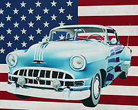 A Pontiac Chieftain is a huge car; big and heavy and rest assured a Pontiac Chieftain can take a beating. Many American collectors restore a Pontiac Chieftain because resreve parts are easily available and a restored model of a Pontiac Chieftain will always remain popular.<br /> <br /> This painting of the Pontiac Chieftain with Hard Top , built in 1950, with the American flag in the background can be purchased in various sizes and printed on canvas as well as wood and metal. You can also have the painting finished with an acrylic plate over it which gives more depth. -<br /> -<br /> BUY THIS PRINT AT<br /> <br /> FINE ART AMERICA<br /> ENGLISH<br /> https://janke.pixels.com/featured/pontiac-chieftain-hard-top-1950-with-flag-of-the-usa-jan-keteleer.html<br /> <br /> <br /> WADM / OH MY PRINTS<br /> DUTCH / FRENCH / GERMAN<br /> https://www.werkaandemuur.nl/nl/shopwerk/Pontiac-Chieftain-Hard-Top-1950-met-vlag-van-de-V-S-/665478/132?mediumId=1