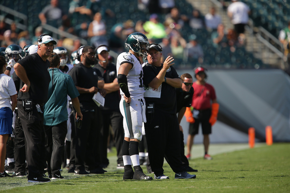 Chip Kelly, Tim Tebow, 2015 Eagles Preseason - Philadelphia Eagles vs Indianapolis Colts at Lincoln Financial Field