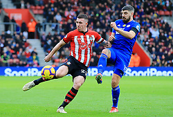 Southampton's Pierre-Emile Hojbjerg has a shot saved during the Premier League match at St Mary's Stadium, Southampton.