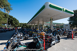 BP Station beside the Iron Horse Saloon gets converted to a bike parking lot during Biketoberfest, Ormond Beach, FL, October 17, 2014, photographed by Michael Lichter. ©2014 Michael Lichter