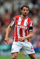 """Stoke City's Joe Allen during the Premier League match at the bet365 Stadium, Stoke. PRESS ASSOCIATION Photo. Picture date: Saturday August 19, 2017. See PA story SOCCER Stoke. Photo credit should read: Mike Egerton/PA Wire. RESTRICTIONS: EDITORIAL USE ONLY No use with unauthorised audio, video, data, fixture lists, club/league logos or """"live"""" services. Online in-match use limited to 75 images, no video emulation. No use in betting, games or single club/league/player publications."""