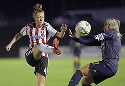 February 20, 2019 - Sheffield, United Kingdom - Alex Greenwodd (manchester United) defends herself as Jade Pennock (Sheffield United) clears the ball during the  FA Women's Championship football match between Sheffield United Women and Manchester United Women at the Olympic Legacy Stadium, on February 20th Sheffield, England. (Credit Image: © Action Foto Sport/NurPhoto via ZUMA Press)
