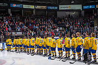 KELOWNA, BC - DECEMBER 18:  Team Sweden stands on the blue line against the Team Russia at Prospera Place on December 18, 2018 in Kelowna, Canada. (Photo by Marissa Baecker/Getty Images)***Local Caption***
