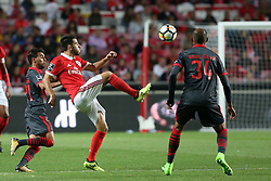 August 9, 2017 - Lisbon, Portugal - Benfica's Portuguese midfielder Pizzi (C ) vies with Braga's forward Ricardo Horta (L ) and Braga's defender Raul Silva (R ) during the Portuguese League football match SL Benfica vs SC Braga at Luz stadium in Lisbon on August 9, 2017 . Photo: Pedro Fiuza. (Credit Image: © Pedro Fiuza/NurPhoto via ZUMA Press)