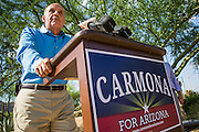 29 AUGUST 2012 - PARADISE VALLEY, AZ:   Dr. RICHARD CARMONA, Democratic candidate for US Senate from Arizona, at a press conference in Barry Goldwater Memorial Park in Paradise Valley, AZ, Wednesday. Carmona won the endorsements of Joanne Goldwater, daughter of Barry Goldwater, the late legendary Republican Senator from Arizona. He was also endorsed by CC Goldwater, her daughter, and Tyler Ross Goldwater, CC Goldwater's son. Barry Goldwater was from Paradise Valley.   PHOTO BY JACK KURTZ