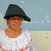 South America, Ecuador, San Antonio de Ibarra.  Local Ecuadorian woman in traditional dress.