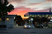 Petrol station at dusk, in Berkley, California