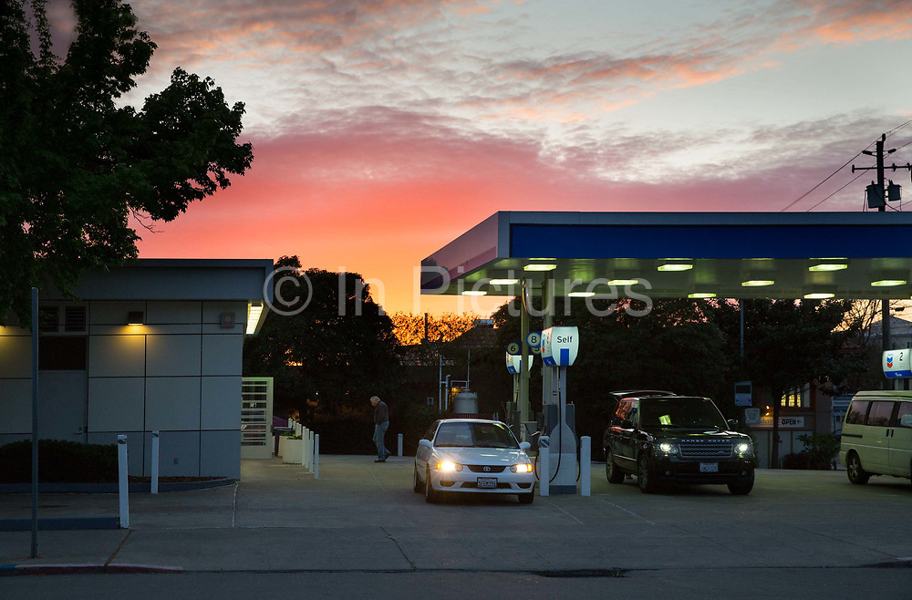 Petrol station at dusk, in Berkley, California