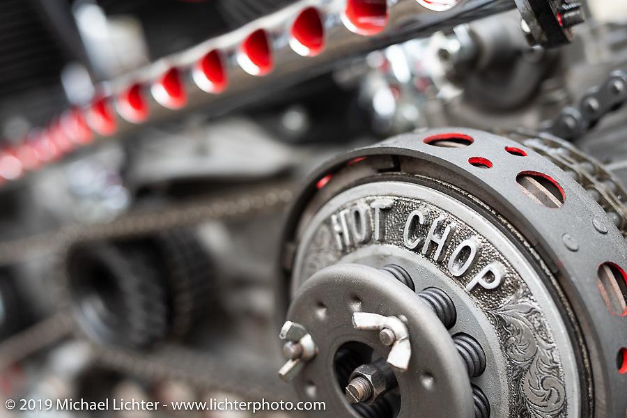 Ken Kentaro's Hot Chop Speed Shop twin-engine Harley-Davidson Sportster drag bike. Kyoto, Ken Kentaro with his Hot Chop Speed Shop twin-engine Harley-Davidson Sportster drag bike. Kyoto, Japan. Friday, December 7, 2018. Photography ©2018 Michael Lichter.