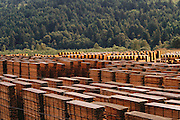 Processed Redwood timber ready for distribution at Scotia Redwood Mill, the largest redwood mill in the world.  Scotia, Humbolt County, California, USA.