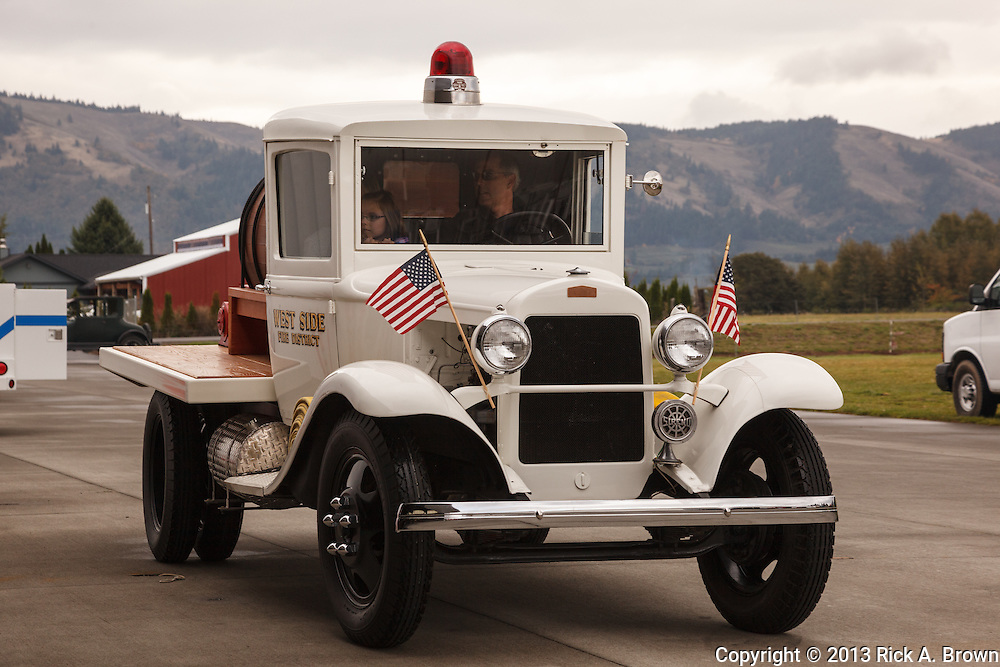 Old fire truck at Western Antique Aeroplane and Automobile Museum, Hood River,  Oregon.