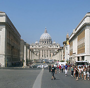 Saint Peter's Square or the Piazza San Pietro, a large plaza which stands in front of St. Peter's Basilica in the Vatican City, Italy. Placed in the centre is a 4,000 year-old Egyptian obelisk, which was places there in 1568. The actual square was designed by Gian Lorenzo Bernini almost 100 years later. The square also has 2 matching granite fountains, constructed by Carlo Maderno around 1613 and Bernini in 1675. This image shows St. Peter's Basilica distantly from the plaza.