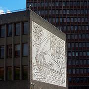 Fra Regjeringskvartalet i Oslo. Y-blokka med Picasso-veggen.