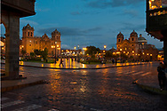 Twilight in Cuzco's main square, called Plaza Mayor.