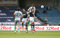 Blackburn Rovers' Darragh Lenihan challenges Millwall's Tom Bradshaw and Mason Bennett<br /> <br /> Photographer Rob Newell/CameraSport<br /> <br /> The EFL Sky Bet Championship - Millwall v Blackburn Rovers - Tuesday July 14th 2020 - The Den - London<br /> <br /> World Copyright © 2020 CameraSport. All rights reserved. 43 Linden Ave. Countesthorpe. Leicester. England. LE8 5PG - Tel: +44 (0) 116 277 4147 - admin@camerasport.com - www.camerasport.com