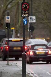 """© Licensed to London News Pictures.20/01/2021, London,UK. A speed limit sign in east London as the Department for Transport (DfT) plans to charge motorists for minor traffic violations which could result in automatic fines of £70. Civil penalties will be handed by nearly 300 local authorities outside London, instead of being imposed by the police. According to the DfT, the process will take """"several months to bring into force"""". Photo credit: Marcin Nowak/LNP"""
