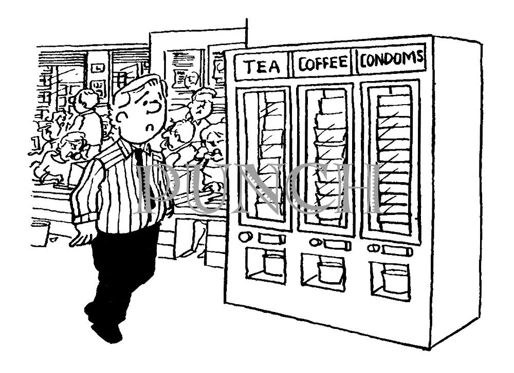 (an office Tea, Coffee and Condoms dispenser)