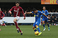 AFC Wimbledon striker Andy Barcham (17) with a shot on goal during the EFL Sky Bet League 1 match between AFC Wimbledon and Northampton Town at the Cherry Red Records Stadium, Kingston, England on 10 February 2018. Picture by Matthew Redman.
