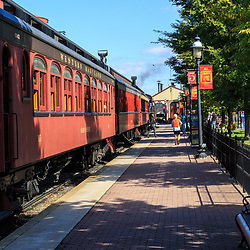 Strasburg, PA, USA - October 6, 2015: Passenger cars at the Strasburg Rail Road train station.