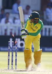 June 29, 2019 - London, United Kingdom - Usman Khawaja of Australia gets bowled out by Trent Boult of New Zealand.during ICC Cricket World Cup between New Zealand and Australia at the Lord's Ground on 29 June 2019 in London, England. (Credit Image: © Action Foto Sport/NurPhoto via ZUMA Press)