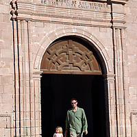 Americas, Mexico, Baja California Sur, Loreto. Visitors of the Jesuit Mission of Our Lady of Loreto, the oldest and first of the California missions, established 1697.