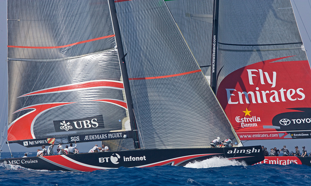 ALINGHI Protest flag!<br /> Race 7 ALINGHI beats Emirates Team New Zealand by 1 second and wins the America's Cup <br /> 32nd America's Cup, 2007<br /> Valencia, Spain<br /> © Daniel Forster